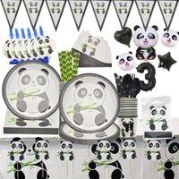 Disposable Dinnerware Cartoon Panda Theme Birthday Party Decorations Kids Tableware Set Plate Napkins Cup Ballon Baby Shower Supplies