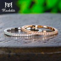 KuoLolit 10k Massivgold 100% MOISSANITE Ringe für Frauen 100% Handeinstellung Labor gewachsen Diamanten Ringe Engagement Braut Feinschmuck T200701