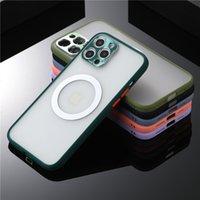 Ultra İnce Şeffaf Mat Sert Cep Telefonu Kılıfları iPhone 12 11 Pro Max XR XS 8 7 Artı Magsafe Şarj Cihazı ile Çalışmak