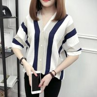Fashion Summer Woman Blouses Stripe Loose Casual Striped Button V Neck Girl Long Sleeve Shirt Top Blouse Female Clothing Women's & Shirts