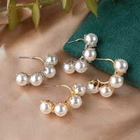 Selling Fashion Simple Temperament Alloy Pearl Flower Earrings Jewelry For Women Stud