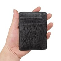 Storage Bags Fashion Sell Black Men Genuine Leather Business Card Holder Credit Passport Bag ID Pack Wallets