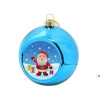 8cm Sublimación en blanco bolas de navidad decoraciones para la transferencia de tinta impresión de impresión de calor prensa de bricolaje regalos artesanal ornamento del árbol de Navidad FWB9476