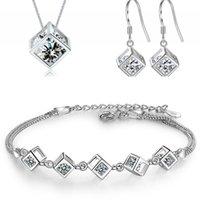 Anenjery 5 Style 925 الفضة الاسترليني مجموعات المجوهرات الزركون مربعة مكعب قلادة + أقراط + سوار للنساء هدية 702 Q2