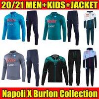 2021 2022 Jacke Napoli Fussball Trainingsanzug X Burlon Kollektion schwarz 20 21 SSC Neapel Maradona Voller Reißverschluss Trainingsanzug Set Veste Survetement Hoodies Kids Kits