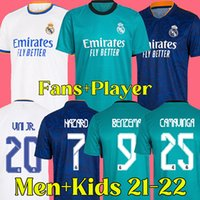21 22 real madrid soccer jersey 2021 2022 RMFC real madrid football shirt fans and player version men and kids kits BENZEMA ALABA HAZARD KROOS MODRIC ISCO ASENSIO MARCELO
