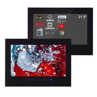 SOLLACA 21,5 дюйма черная ванная комната светодиодный телевизор Smart Android Hotel водонепроницаемый телевизор стеклянный панель безрамный Full HD 1080
