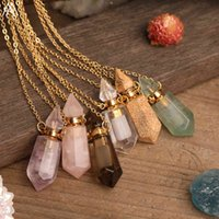 Natural Gems Stone Faceted Prism Perfume Bottle Pendants Necklace,Cut Hexagon Points Crystal Essential Oil Diffuser Vial Charms 210426