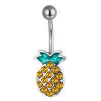D0935 (1 color) Estilos agradables Piña de ombligo ombligo ombligo anillo piercing cuerpo jewlery 1.6 * 11 * 5/8 Anillo del vientre Joyero corporal