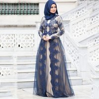 navy blue Modern Lace Long Sleeves Evening Dresses champagne stain Floor Length Muslim applique vestaglia donna Women Maxi Gown Formal Dress