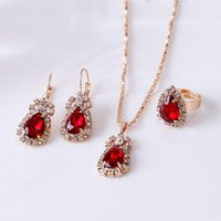 Earrings & Necklace 3 Piece Suit Fashion Wedding Party Jewelry Set Oval Water Drop Pendant Ring Wholesale