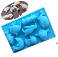 Herramientas de bricolaje Molde de silicona Pastel de mar Mundo delfín y pescado Jalea de chocolate Moldes de pudín Moldes de jabón hecho a mano HWA9309