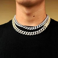 Hip hop 12mm Double Row Full Drill Spring Buckle Cuban Chain Necklace for Men Rapper jewelry