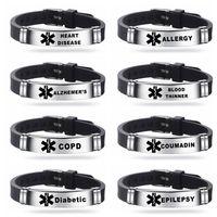 Médico de alerta médica dos homens Pulseira de silicone pulseira de gelo pulseira pulseira ajustável para homens mulheres criança jóias tipo 1 diabetes