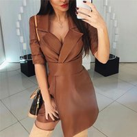 Sexy Ladies Dress Smooth Leather Jacket Autumn Slim Jackets Lapel Trench Coat Nightclub Dresses with Belt