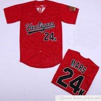 Großhandel Bruno Mars 24k Hooligans Rote Baseball-Trikots Nähte Movie Bruno Mars 24k Hooligans Baseball Jersey Shirt