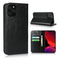Luxury Folio Case for iPhone 12 Mini 11 Pro Max XR XS 6s 7 8 Plus Samsung S21 Ultra S21FE 3 Card Slots Genuine Leather Wallet Clutch Bracket Phone Cover Shockproof