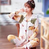 Мода-внешняя одежда из хлопка Шелковый пижамы женские весной и осенью онлайн знаменито-корейский стиль лето с длинным рукавом искусственный кроват