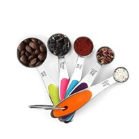 5 Measuring Cups and 5 Measuring Spoons, Color Handle, Premium Stainless Steel, First Choice for Kitchen Baking (10PCS) 1906 V2