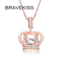 Rose Or Crown Crown Pendentifs Colliers Pour Femmes Clear + Cz Collier Bijoux De Mariée De Prestige Bijoux Girls Party Bun0317A Chaînes