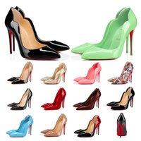 기독교 루 부푸틴 하이힐 Cl 너무 케이트 드레스 신발 붉은 바닥 여성 스틸레토 발 뒤꿈치 8 10 12cm 정품 가죽 포인트 발가락 펌프 디자이너