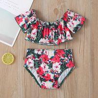 One-Pieces TELOTUNY Swimwear Baby Kids Girls Summer Short Sleeve Ruffle Flower Print Swimsuit Top Shorts Set Two Piece Bikini Beach Wear