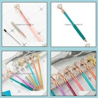& Industrial Big Diamond Ballpoint Bling Little Crystal Metal Pens School Office Writing Supplies Business Pen Stationery Student Gift Drop