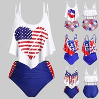 American Flag Print Bikinis Women Swimsuit High Waist Bathing Suit Swimwear Push Up Two Piece Bikini Set Plus Size Beach Wear Women's