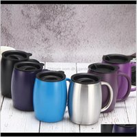 Mugs 15Oz 420Ml Coffee Mug Stainless Steel Insulated Vacuum Flasks Thermos Double Layers Belly Cup Tumbler With Handle Lid Sea Pezrr Cjtyy