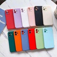 Matte snoep kleur rechte kant zachte tpu cases camerabescherming voor iPhone 12 11 pro max xr XS x 8 plus Samsung S20 FE S21 Ultra A02 A02S A12 A22 A32 4G 5G A42 A52 A72 A82