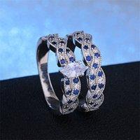 Nova chegada de luxo 2 pçs / set clássico marquise corte prateado banhado diamante cz casamento anel de casamento conjunto de jóias tamanho 6-12 1075 Q2