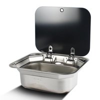 Parts RV Washbasin Stainless Steel Hand Wash Basin Sink With Folded Faucet Tempered Glass Lid Boat Camper Trailer Caravan Accessories