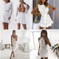 여성 중공 흰색 레이스 드레스 2021 봄 O 넥 긴 소매 백리스 섹시한 바디 콘 슈즈 이브닝 드레스 레이디 파티 여름 가을