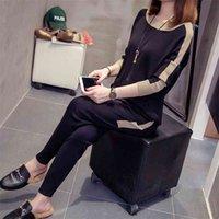 محبوك تراكسويت النساء 2 أجزاء مجموعة زائد حجم تريكو الزي عارضة قميص طويل الأكمام قمم + مجموعات طويلة بانت T200618
