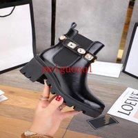 منصة البيج الثقيلة أحذية جلدية الدانتيل متابعة الأحذية القتالية أحذية سلسلة مشبك منخفض الكعب مارتن الأحذية الكاحل مصمم الفاخرة العلامة التجارية الأحذية النسائية