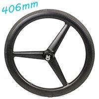 Rodas de bicicleta 406mm de carbono tri falava roda de rodas bmx bmx jantes lustrosos / foscos três frente ou traseira 3 e hub powerway