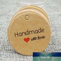 1.18inch Kraft Imprimir papel feito à mão tag com amor para caixa de presente diy tag cupcake favores favores favores