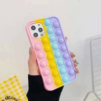 Pop Fidget Push Bubble Toy Mobile Phone Shell Applies to apples Stress Reliever Sensory Silicone Phone's Case LLA674