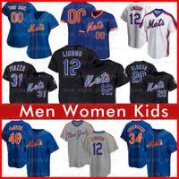 12 Francisco Lindor 20 بيت Alonso البيسبول جيرسي الرجال النساء 48 Jacob Degrom Keith Hernandez Mike Piazza Jeff McNeil جديديوركميتس