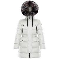 Designer Jacket Womens Down Long Parka Coat Hooded Silver Fox Fur Collar Zipper Downs Lightweight Warm Skirt White Goose Parkas High Quality Star Coats Women