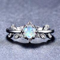 5 PCS Lot Mãe Presente Full Blue Fire Opal Gems 925 Sterling Silver para Mulheres Rússia Rússia Casamentos Americanos Anel Jóias Presente 92 Q2
