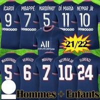 Maillots Paris Saint Germain x Jordan psg Fourth 2021 Kit enfants NEYMAR JR MBAPPE Champion League Barceona VERRATTI maillots de football 4eme violet et rose 4th UCL uniforme