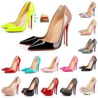 Mujer clásica fondos rojos tacones altos tacones de diseño brand sandalia de los dedos de los dedos dedos sexy punta puntiaguda rojos suela 8 cm 10 cm 12 cm bombas lujos de lujo para mujer