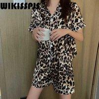 Wikisspjs verano sexy leopard estampado traje casual delgado cárdigan cómodo ropa de hogar mujeres pijamas sexy ropa de dormir Q0706