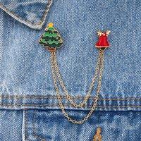 2022 메리 크리스마스 브로치 크리스마스 양말 크리스마스 트리 엘크 에나멜 배지 작은 브로치 핀 여성 패션 파티 쥬얼리 선물