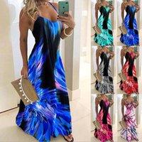여성 여름 V 목 인쇄 긴 드레스 섹시한 스파게티 스트랩 느슨한 파티 드레스 플러스 사이즈 Boho 비치 캐주얼 드레스 플러스 5xl