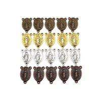 100 sztuk Stopu Dziewica Maryja Medal Oval 3 Otwór Złącze Do Biżuterii Kolczyki Naszyjnik Akcesoria DIY