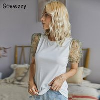 Summer Solid Color T-shirt Wild Bubble Sleeve Round Neck Stitching Short-sleeved T Shirt Fashion Basic Top Tees Female Women's