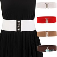 fashion Belts 1pcs Elegant Black Silver Buckle White Wide Stretch Elastic Corset Waist Waistband Apparel Accessories