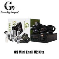 Authentic GreenlightVapes G9 Mini Enail V2 Kit DAB DABBER Plug XLR Plug 25mm Vape Box mod con quarzo Banger14mm Cappuccio in vetro per tubi maschile per cera concentrato 100% genuino